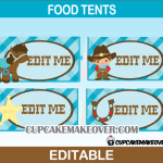 printable editable cowboy western food cards