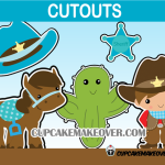 cowboy cute party decorations sheriff badge cactus horse