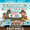 cute printable western cowboy birthday supplies