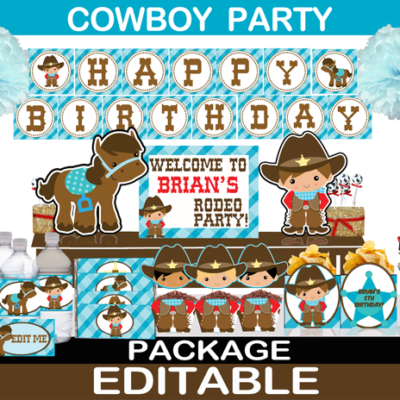 cute printable western cowboy birthday supplies