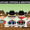 cute wild west cowboy cowgirl outlaws cupcake toppers wrappers