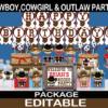 wild west cute gunslinging cowboy cowgirl birthday party package