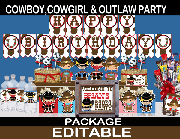 wild west cute gunslinging cowboy cowgirl birthday party package