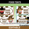 wild west outlaws sheriff editable food cards