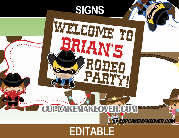 sheriff outlaw cowboy cowgirl editable party sign