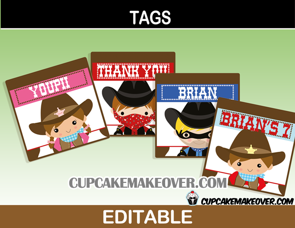 editable western thank you labels