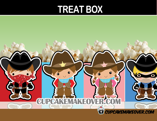 wild west party favors popcorn box treats cowboy cowgirl