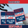 editable baseball party all star pass