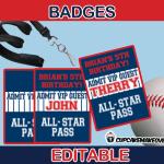 editable baseball party all star pass