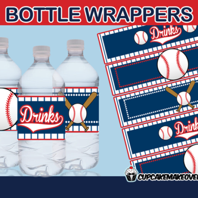 sports baseball bottle labels