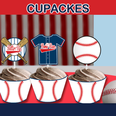 sports baseball cupcake toppers and wrappers