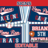 editable sports baseball party signs