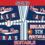 editable sports baseball party signs