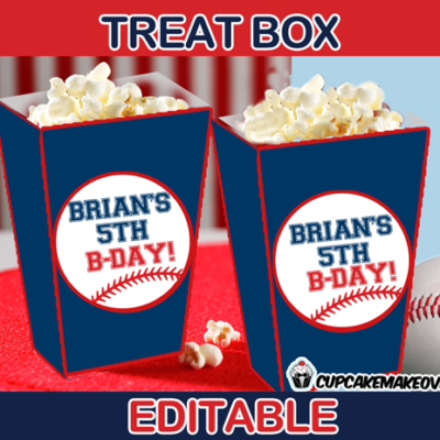 sports party baseball popcorn box