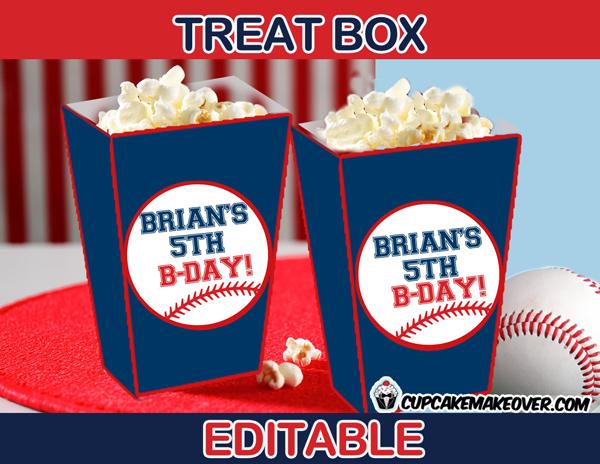 sports party baseball popcorn box
