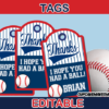 editable sports baseball favor tags labels