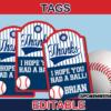 editable sports baseball favor tags labels
