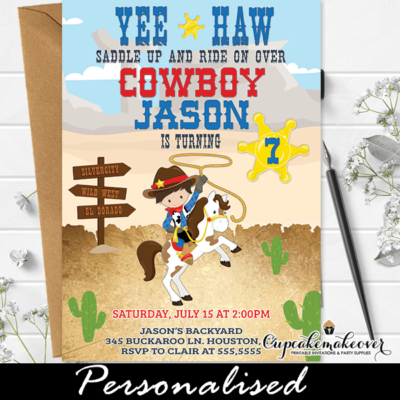 Cowboy Party Invites Wild West Birthday Theme