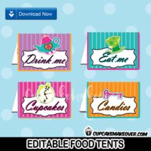 alice in wonderland party editable food tents