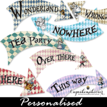 alice in wonderland directional signs printable arrows
