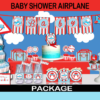 cute airplane baby shower party package boys red blue