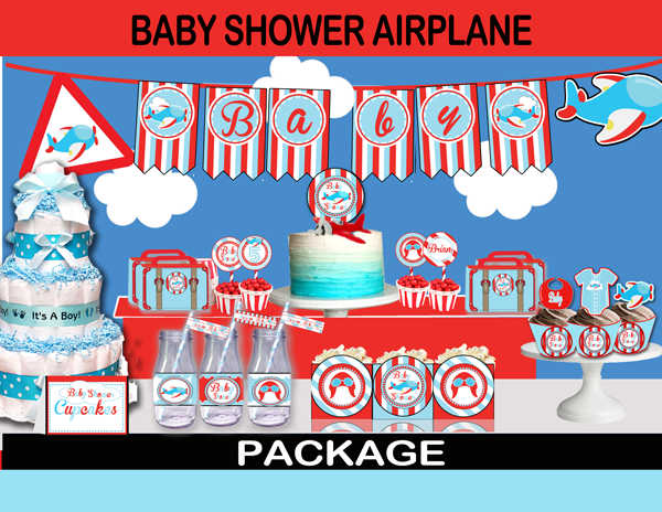 ... Cute Airplane Baby Shower Party Package Boys Red Blue