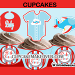 cute baby shower airplane cupcake toppers and wrappers