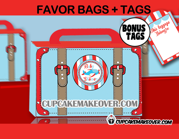 airplane baby shower favor box printable tags