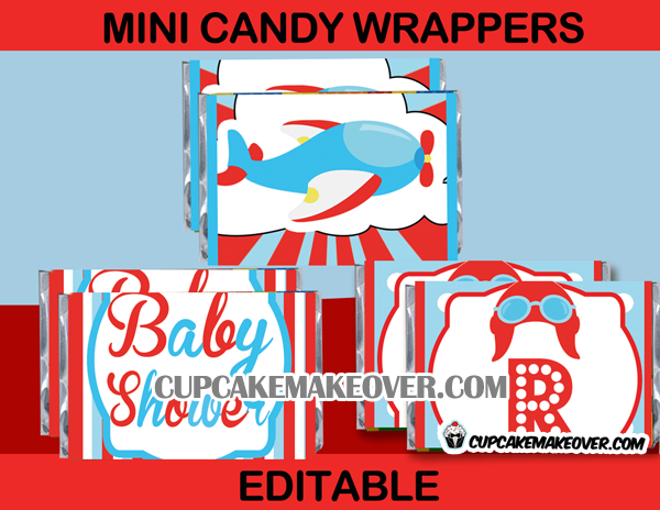 baby boy airplane shower mini candy wrappers