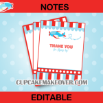 editable baby shower airplane thank you cards