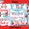 cute editable plane baby shower party signs