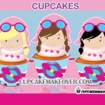 cute pink airplane girl aviator pilot cupcakes