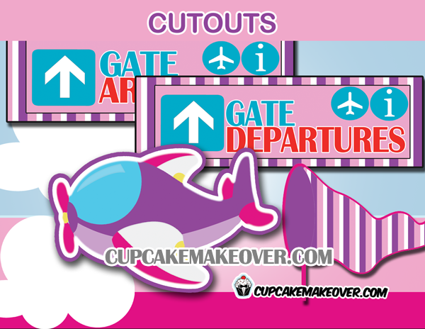 pink airplane pilot girl party decoration