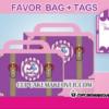 girl theme airplane pink luggage box tags