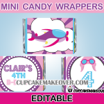 cute pilot girl mini candy labels