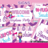 pink airplane birthday party signs girls