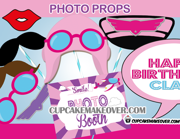 pink airplane girl pilot photo props mustache photo booth