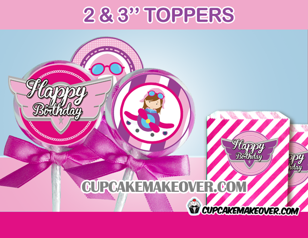 cute editable girl pink airplane toppers wings cupcake