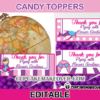 cute editable pink airplane treat bag toppers