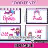 editable food labels airplane girl pink theme