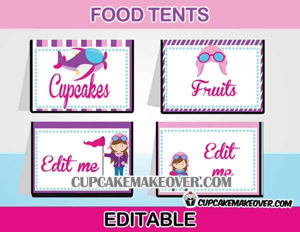editable food labels airplane girl pink theme