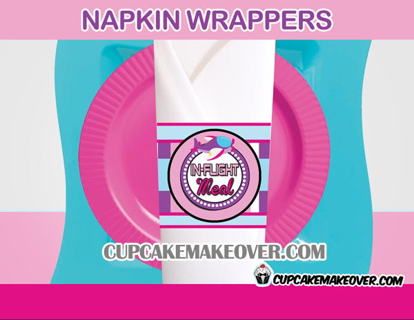 cute pink airplane birthday napkin rings in-flight meal