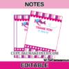 airplane pink editable favor cards girl theme