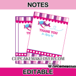 airplane pink editable favor cards girl theme