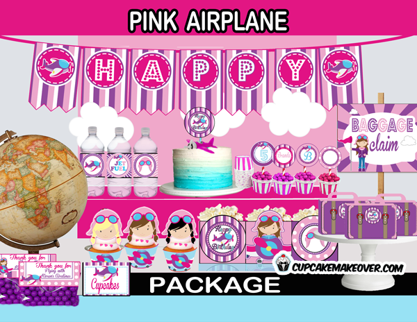 printable cute airplane birthday party package girl