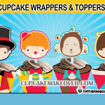 cute carnival circus cupcake toppers wrappers printables