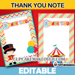 printable cute circus thank you card