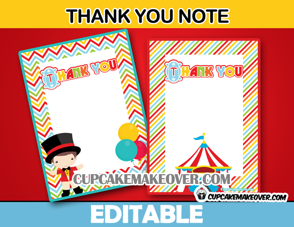 printable cute circus thank you card