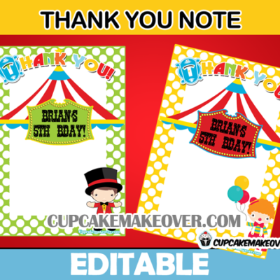 editable favor notes carnival birthday