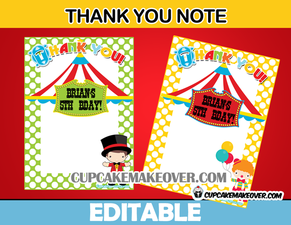 carnival editable thank you notes instant download cupcakemakeover